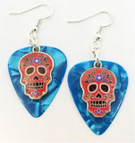 Red Sugar Skull Charm Guitar Pick Earrings - Pick Your Color