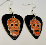 Orange Sugar Skull Charm Guitar Pick Earrings - Pick Your Color