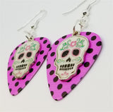 White Sugar Skull Charm Guitar Pick Earrings - Pick Your Color