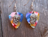 Sugar Skull Playing the Guitar Guitar Pick Earrings - Pick Your Color