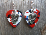 Sugar Skull Playing the Guitar Charm Guitar Pick Earrings - Pick Your Color