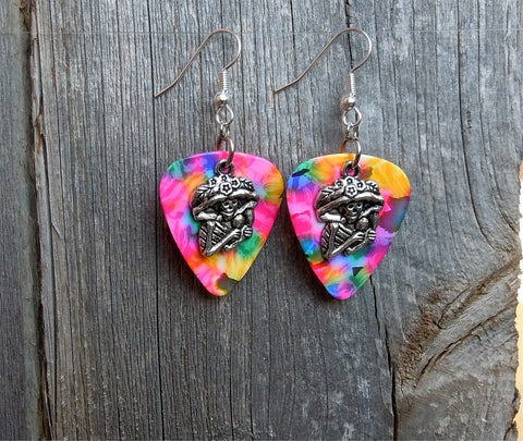 Sugar Skull Playing the Maracas Guitar Pick Earrings - Pick Your Color
