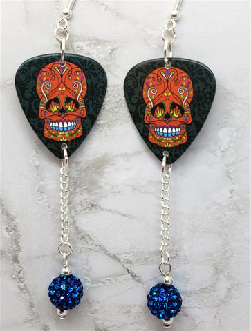 Red and Blue Sugar Skull Guitar Pick Earrings with Capri Blue Pave Bead Dangles
