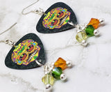 Orange Sugar Skull Guitar Pick Earrings with Swarovski Crystal Dangles