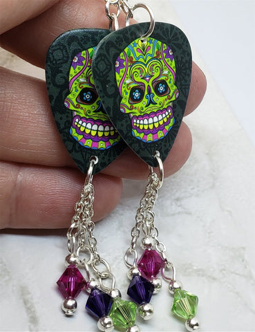 Green, Purple and Fuchsia Sugar Skull Guitar Pick Earrings with Swarovski Crystal Dangles