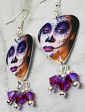Woman Painted as a Sugar Skull Guitar Pick Earrings with Fuchsia AB Swarovski Crystal Dangles