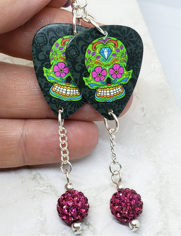 Green Sugar Skull Guitar Pick Earrings with Fuchsia Pave Bead Dangles
