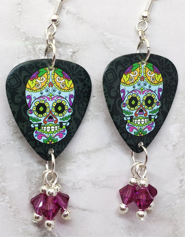Colorful Sugar Skull Guitar Pick Earrings with Fuchsia Swarovski Crystal Dangles