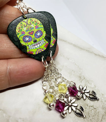 Green Sugar Skull Decorated with Flowers and Hearts Guitar Pick Earrings with Charm and Swarovski Crystal Dangles
