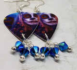 Woman Painted as a Sugar Skull Ghoul Guitar Pick Earrings with Blue ABx2 Swarovski Crystals Dangles
