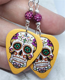 Sugar Skull on Orange Guitar Pick Earrings with Fuchsia Pave Beads