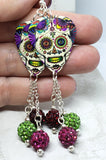 Colorful Sugar Skull Guitar Pick Earrings with Pave Bead Dangles