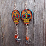 Orange and Blue Sugar Skull Guitar Pick Earrings with Star Charm and Swarovski Crystal Dangles