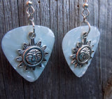 Sun with Face Charm Guitar Pick Earrings - Pick Your Color