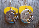 Sun and Moon with Faces Charm Guitar Pick Earrings - Pick Your Color