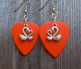 Swan Heart Charm Guitar Pick Earrings - Pick Your Color