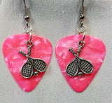 Double Tennis Racket Charm Guitar Pick Earrings - Pick Your Color
