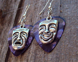 Theater Mask Comedy and Drama Charm Guitar Pick Earrings - Pick Your Color
