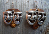 Theater Mask Charm Guitar Pick Earrings - Pick Your Color