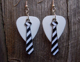 Black and White Striped Tie Charm Guitar Pick Earrings - Pick Your Color