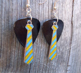 Yellow and Blue Striped Tie Charm Guitar Pick Earrings - Pick Your Color