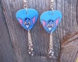 Tom of Tom n' Jerry Guitar Pick Earrings with Gray Swarovski Crystal Dangles