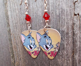 Tom n' Jerry Guitar Pick Earrings with Red Swarovski Crystals