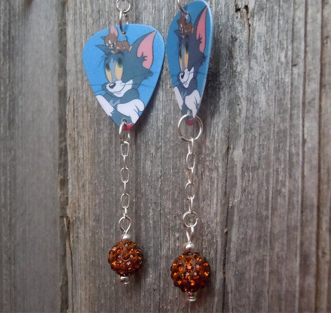Tom n' Jerry Guitar Pick Earrings with Brown Pave Bead Dangles
