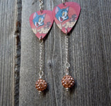Red Tom n' Jerry Guitar Pick Earrings with Tan Pave Bead Dangles