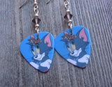 Tom n' Jerry Guitar Pick Earrings with Gray Swarovski Crystals