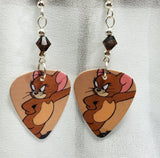 Jerry of Tom n' Jerry Guitar Pick Earrings with Brown Swarovski Crystals