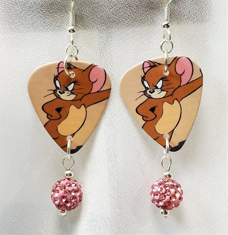 Jerry of Tom n' Jerry Guitar Pick Earrings with Pink Pave Bead Dangles