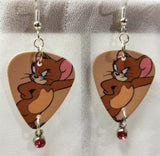 Jerry of Tom n' Jerry Guitar Pick Earrings with Pink Crystal Charms