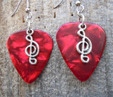 Small Clef Charm Guitar Pick Earrings - Pick Your Color