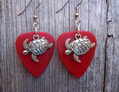 Turtle Charm Guitar Pick Earrings - Pick Your Color