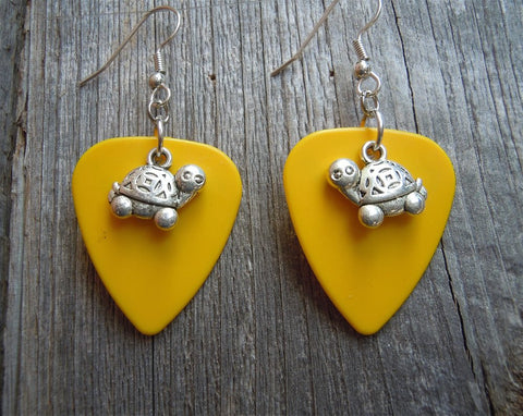 Cartoonish Turtle Charm Guitar Pick Earrings - Pick Your Color