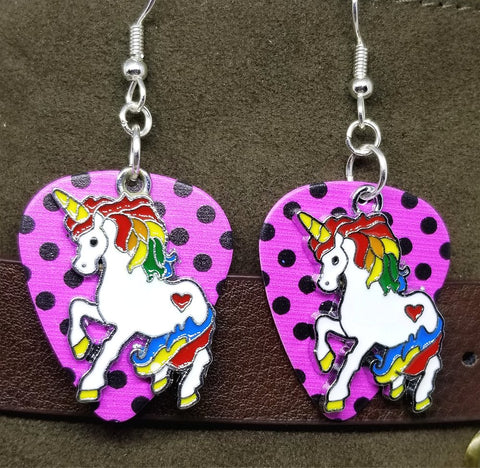 Rainbow Unicorn Charm Guitar Pick Earrings - Pick Your Color