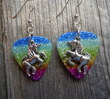 Unicorn Charm Guitar Pick Earrings - Pick Your Color
