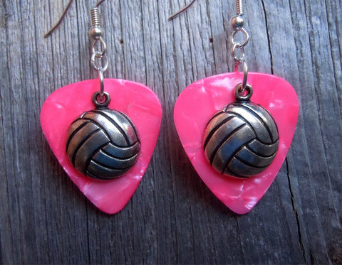 Volleyball Charm Guitar Pick Earrings - Pick Your Color