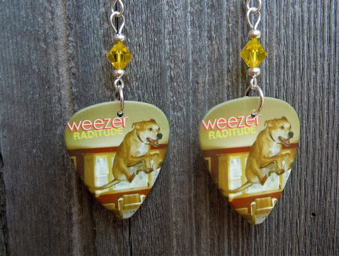 Weezer Raditude Guitar Pick Earrings with Yellow Swarovski Crystals