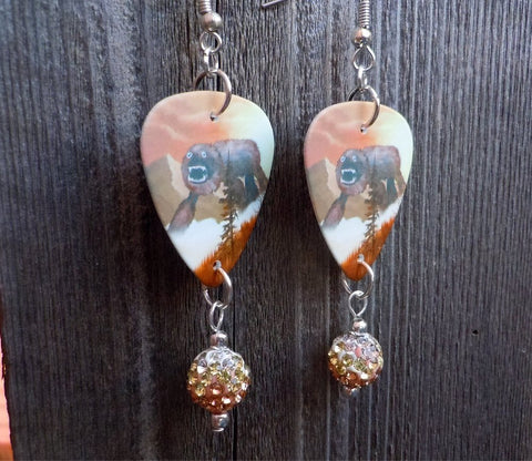 Weezer Everything Will Be Alright In The End Album Cover Guitar Pick Earrings with Ombre Pave Beads