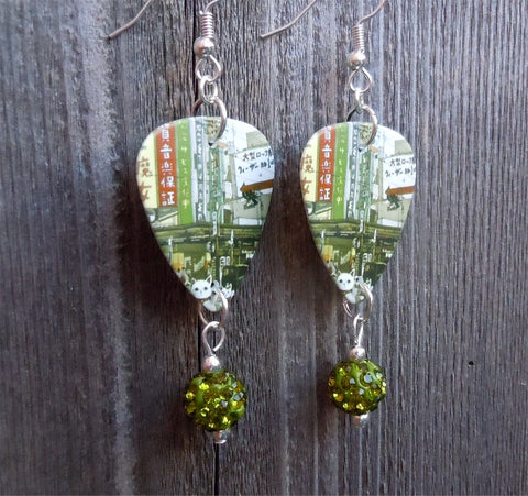 Weezer The Lion and The Witch Guitar Pick Earrings with Green Pave Beads
