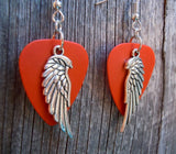 Detailed Single Wing Charm Guitar Pick Earrings - Pick Your Color