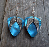 Set of Wings Charm Guitar Pick Earrings - Pick Your Color