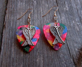 Crossed Wings Charm Guitar Pick Earrings - Pick Your Color