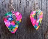 Small Wing Charms Guitar Pick Earrings - Pick Your Color