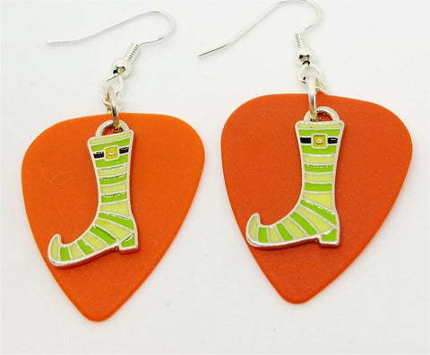 Green and Yellow Striped Witch Boots Guitar Pick Earrings - Pick Your Color