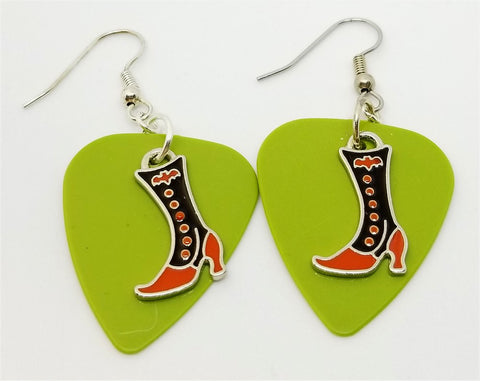 Orange and Black Witch Boots Guitar Pick Earrings - Pick Your Color