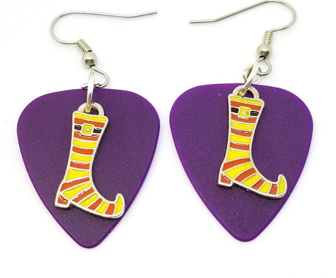 Yellow and Orange Striped Witch Boots Guitar Pick Earrings - Pick Your Color