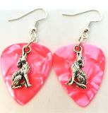 Wolf Charm Guitar Pick Earrings - Pick Your Color